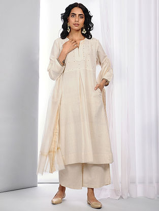 Ivory Handloom Cotton Kurta with Hand Crochet