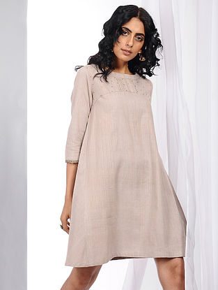 Beige Natural-dyed Handloom Cotton Dress with Hand Crochet