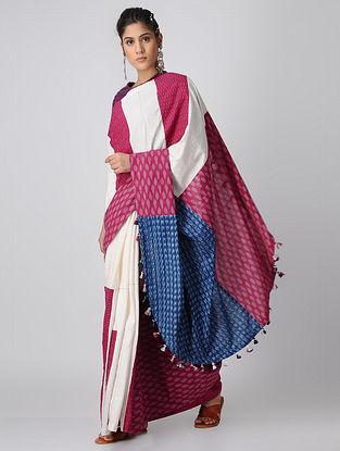 Indigo-Pink Handloom Cotton Ikat Constructed Saree with Tassels by Jaypore