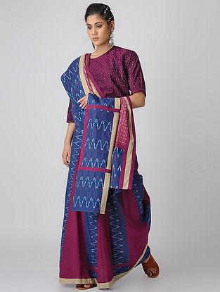 Indigo-Red Handloom Cotton Ikat Constructed Saree by Jaypore
