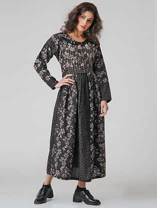 Black-Ivory Natural-dyed Ajrakh Cotton Dress with Gathers