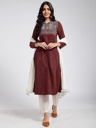 Madder Ajrakh Printed Cotton Kurta with Rabari Embroidered Yoke