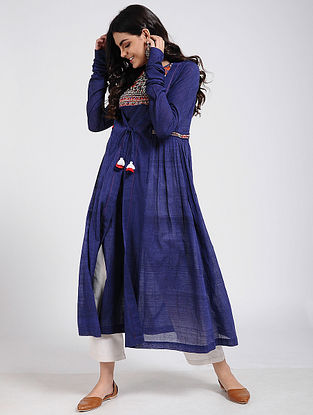 Blue Cotton Kurta with Rabari Embroidered Yoke and Tassels