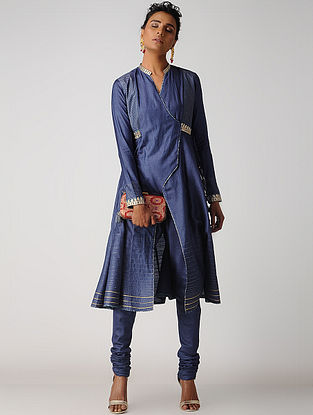 Blue Hand-embroidered Silk Cotton Kurta with Tassels