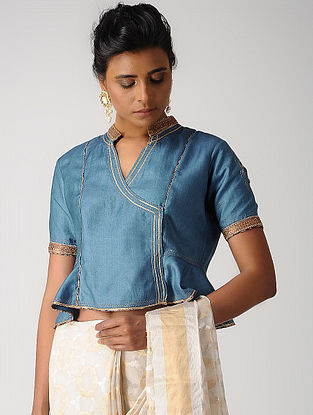 Blue Hand-embroidered Silk Cotton Blouse with Gota