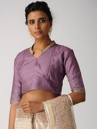 Purple Hand-embroidered Silk Cotton Blouse with Gota
