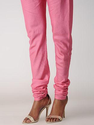 Pink Elasticated-waist Silk Cotton Churidar