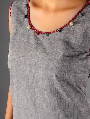 Grey - Black Ajrakh  Detailed Cotton Layered  Dress  By Jaypore