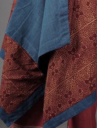 Red - Blue Ajrakh Cotton Cape By Jaypore