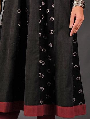 Black - Grey Ajrakh Kalidar Cotton Kurta By  Jaypore