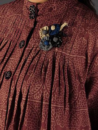 Maroon - Ecru Ajrakh Pintuck Cotton Shirt By Jaypore