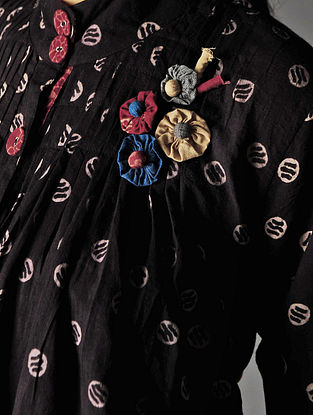 Black - Beige  Ajrakh Pintuck Cotton Shirt By Jaypore