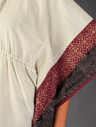 Ivory - Red Ajrakh Cotton Kaftan By Jaypore