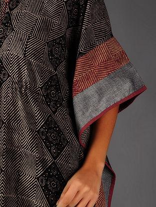 Black - Beige  Ajrakh Cotton Kaftan By Jaypore