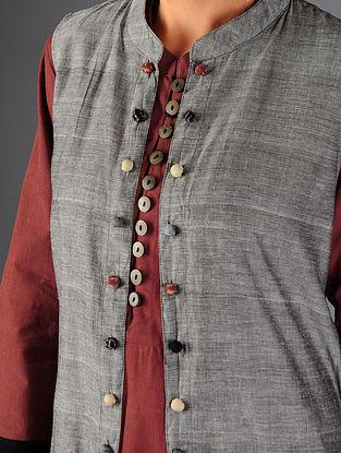 Grey - Black Ajrakh  Detailed Cotton Sleeveless Long Jacket By Jaypore