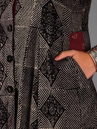 Black - Beige Ajrakh Cotton Button Down  Dress By Jaypore