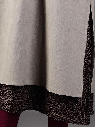 Grey - Black Ajrakh Detailed Cotton Layered Kurta By Jaypore