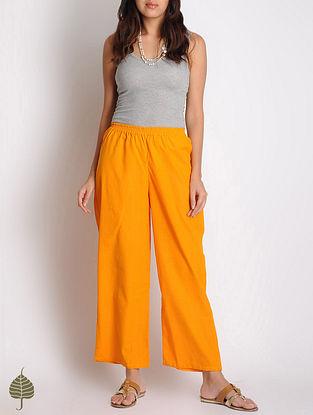 Orange Checks Elasticated Waist Cotton Straight Pants by Jaypore