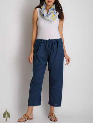 Indigo Tie-Up Waist Cotton Pants by Jaypore