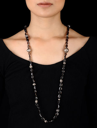 Black Beaded Tribal Silver Necklace