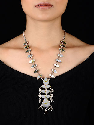 Glass Tribal Silver Necklace