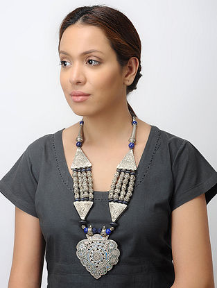 Blue Tribal Silver Necklace