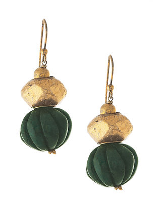 Green Gold Tone Tribal Silver Earrings