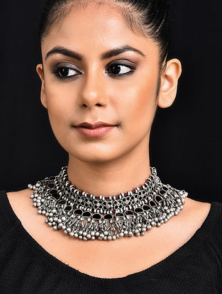 Black Glass Tribal Silver Necklace