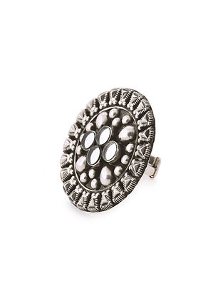 Glass Tribal Silver Adjustable Ring