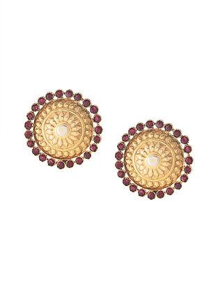 Maroon Gold Tone Tribal Silver Earrings