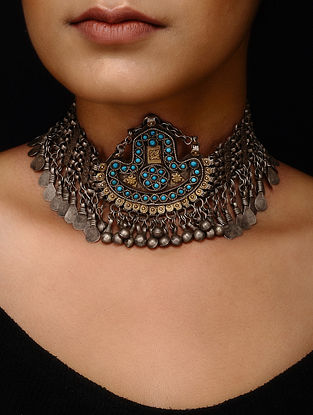 Blue Dual Tone Tribal Silver Necklace