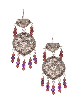 Orange Purple Tribal Silver Earrings
