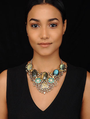 Turquoise and Labradorite Dual Tone Tribal Silver Necklace
