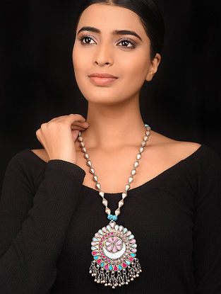 Pink Blue Glass Dholki Beaded Silver Necklace