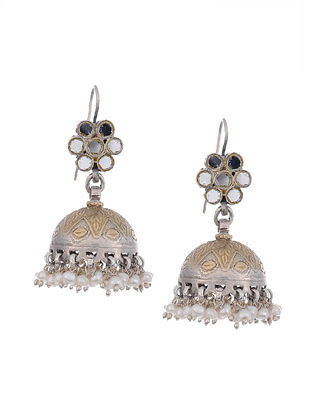 Dual Tone Glass Tribal Silver Jhumki Earrings with Pearls