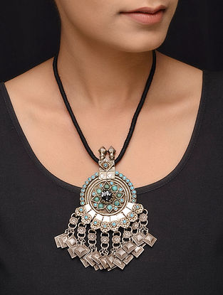 Turquoise Tribal Silver Thread Necklace