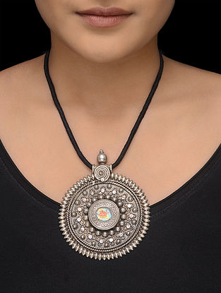 Black Thread Necklace with Hand-painted Silver Pendant