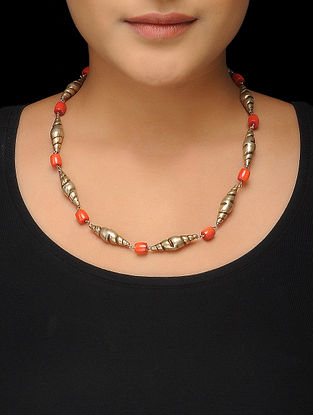 Orange Gold Tone Silver Necklace