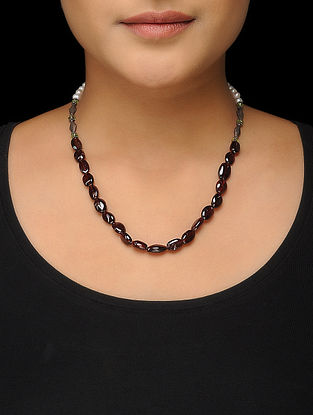 Maroon Beaded Silver Necklace with Pearls