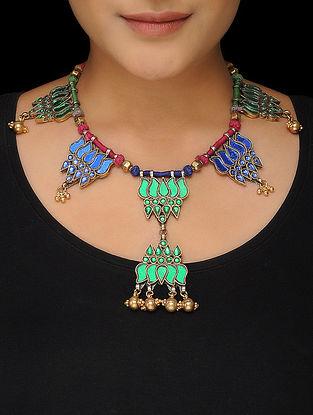 Multicolored Thread Glass Silver Necklace