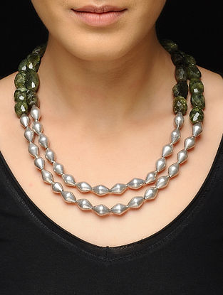 Green Dholki Beaded Silver Necklace