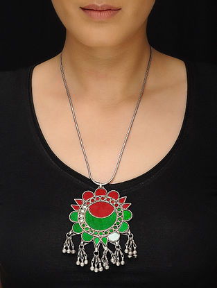 Red-Green Glass Tribal Silver Necklace