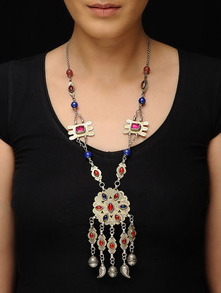 Red-Blue Tribal Silver Necklace