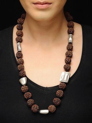 Rudraksh Beaded Silver Necklace