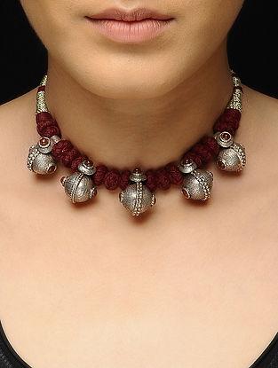 Maroon Thread Silver Necklace