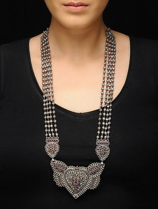 Pink Silver Beaded Necklace