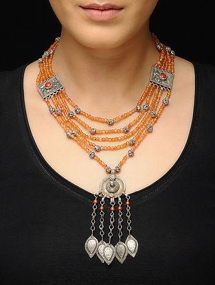 Orange Beaded Silver Necklace