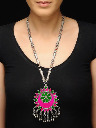Pink-Green Glass Tribal Silver Necklace
