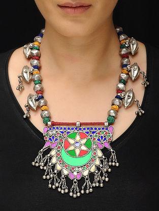 Multicolored Glass Tribal Silver Thread Necklace