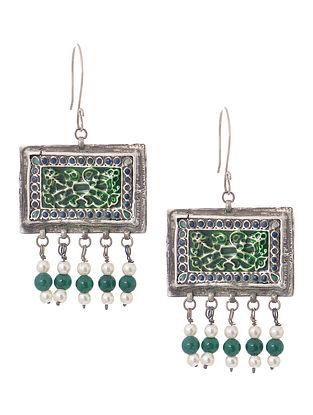 Green-Blue Enameled Tribal Silver Earrings